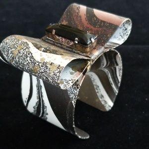 Darling Handpainted Metal Bow Bracelet NOS